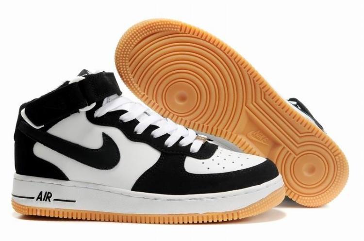 100% authentic e9386 344a1 Mens Nike Air Force 1 25th High Shoes Black White Orange [4017 ...