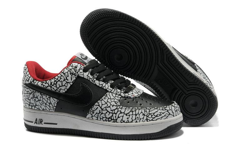 promo code a042c e8467 Mens Nike Air Force 1 30th Anniversary Lizard Black Grey Red [791 ...