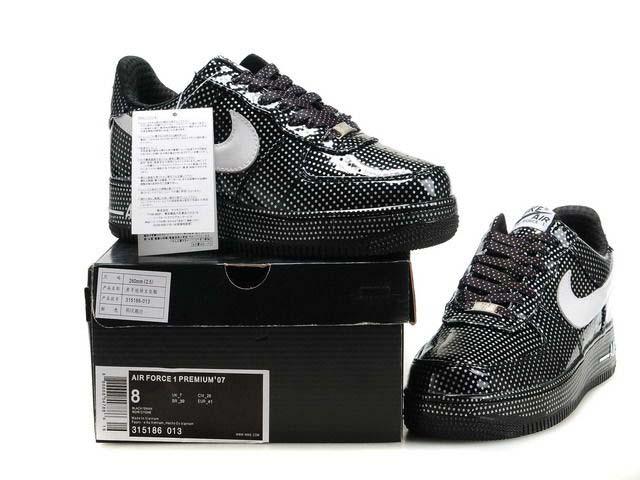 big sale b76b8 f2ed1 ... Mens Nike Air Force 1 Premium Polka Dot Black Swan ...